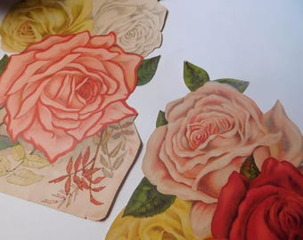 SALE - Vintage Paper Ephemera - Cabbage Roses - Mixed Media Art