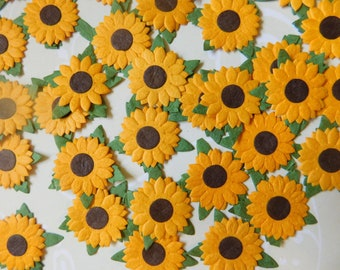 Handmade Paper Posies Sunflowers - 40 of Them for Arts and Crafts Project Life