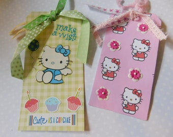 Set of Two Hello Kitty Gift Tags - Birthday and All Occasion Handmade Tags