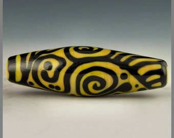 a long oval in golden yellow with brilliantly contrasting black stringer designs handmade lampwork focal bead - Zentangle Tiger
