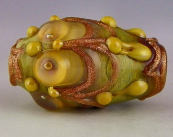 a large oval focal in silverglass and sparkling goldstone handmade lampwork bead - Golden Era