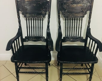 dining chairs vintage chairs farmhouse chairs custom painted chairs shabby chic chairs kitchen chairs black chairs chairs set of 2 chairs & Kitchen chairs | Etsy