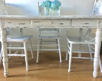 Farmhouse Table Set Kitchen Set Kitchen Table And Chairs Painted Table And  Chairs Dining Table Set Shabby Chic Table