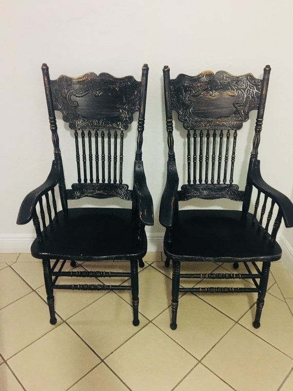 Phenomenal Dining Chairs Vintage Chairs Farmhouse Chairs Custom Painted Chairs Shabby Chic Chairs Kitchen Chairs Black Chairs Chairs Set Of 2 Chairs Download Free Architecture Designs Terstmadebymaigaardcom