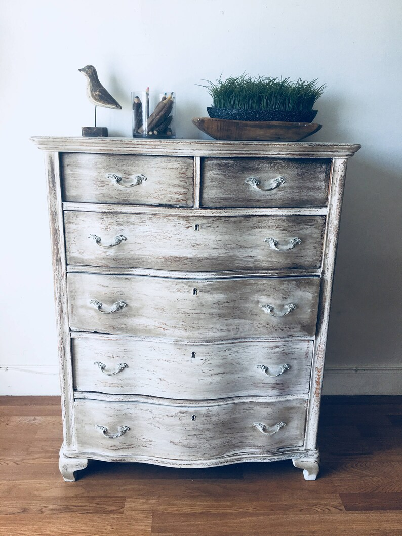 Vintage french style distressed antique white and brown distressed  furniture coastal living dresser