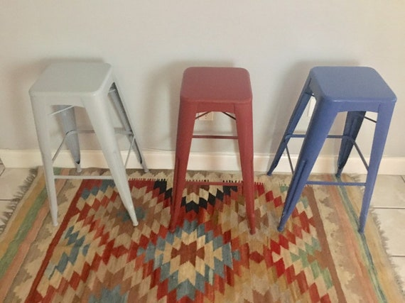 Sensational Vintage Painted Industrial Bar Stool Counter Stools Set Of 3 Spiritservingveterans Wood Chair Design Ideas Spiritservingveteransorg