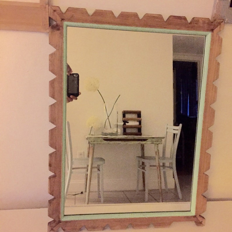 Vintage shabby chic painted mirror wood frame