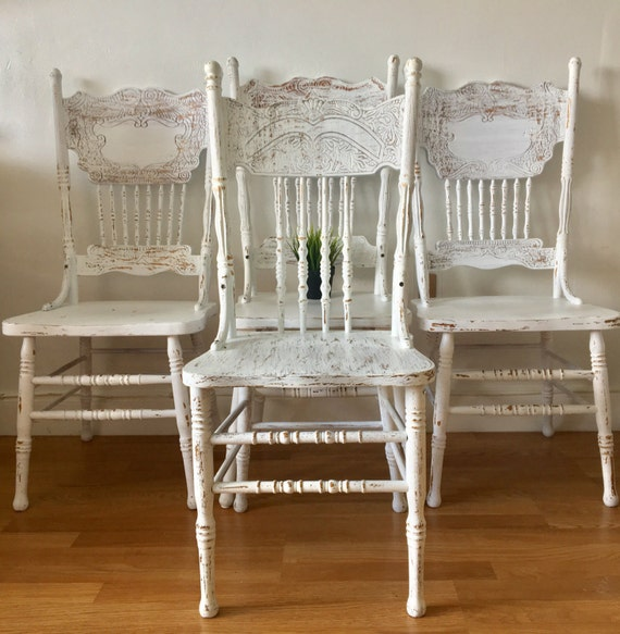 Vintage Farmhouse Chairs Solid Wood Painted White And Etsy