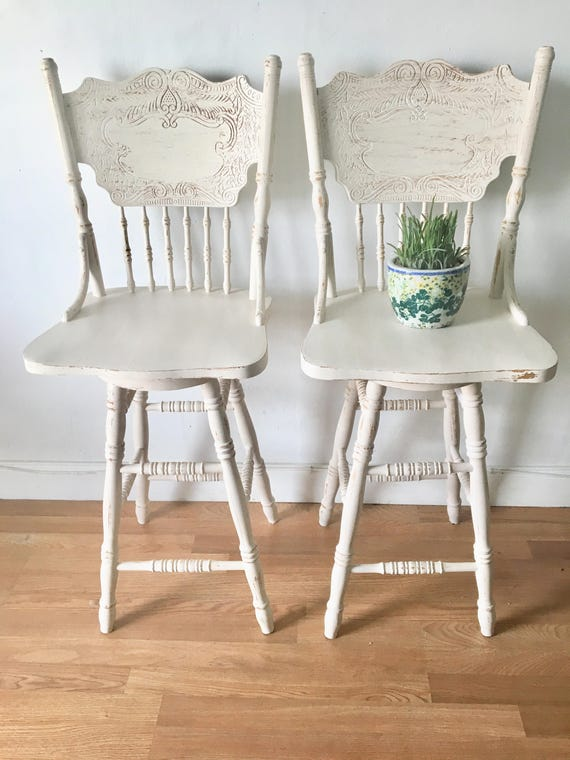 Astonishing Vintage Hand Painted Distressed Dining Chair Set Of 2 Custom Color Gmtry Best Dining Table And Chair Ideas Images Gmtryco