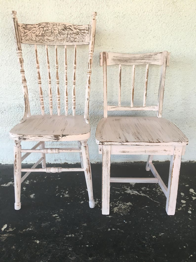Vintage Mismatched Painted Dining Chairs Set Of 2 Pink Etsy