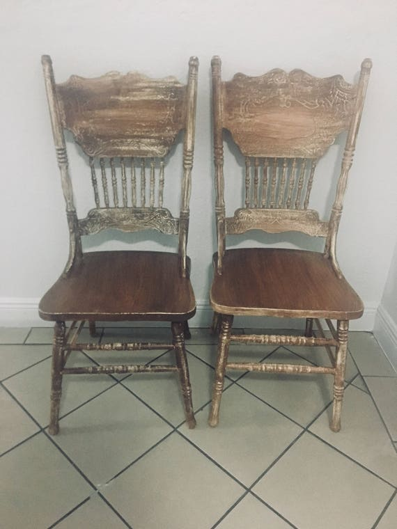 Vintage Wood Rustic Dining Chairs Set 2 Brown Wash Farmhouse Chairs  Undertone Finish