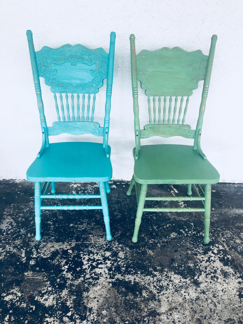 Wondrous Dining Chairs Vintage Chairs Green Chair Blue Farmhouse Chairs Custom Painted Chairs Shabby Chic Chairs Kitchen Chairs Set Of 2 Chairs Home Download Free Architecture Designs Scobabritishbridgeorg