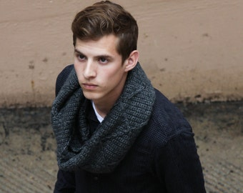 Men's Cabled Cowl, Chunky Cowl for Men