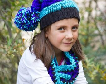 3d5fae1a13408 Kids Hat and Scarf Set  Slouchy Beanie with a Giant Pom Pom and Scarf with  Pom-Pom Fringe