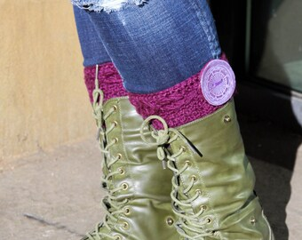 Cabled Bootcuff with a Giant Steampunk Button.