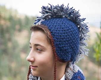 Boys Mohawk Hat with Earflaps and Pom-Pom Tassels