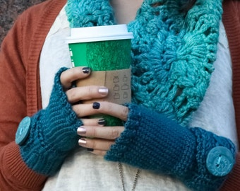 Fingerless Mitts with a Cabled Buckle and Steampunk Accents