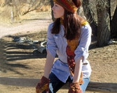 Lace & Florals Earwarmer, Scarf, Fingerless Glove Set in Autumn Colors