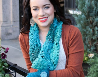 Warm Lacy Infinity Scarf with Sparkle Accents