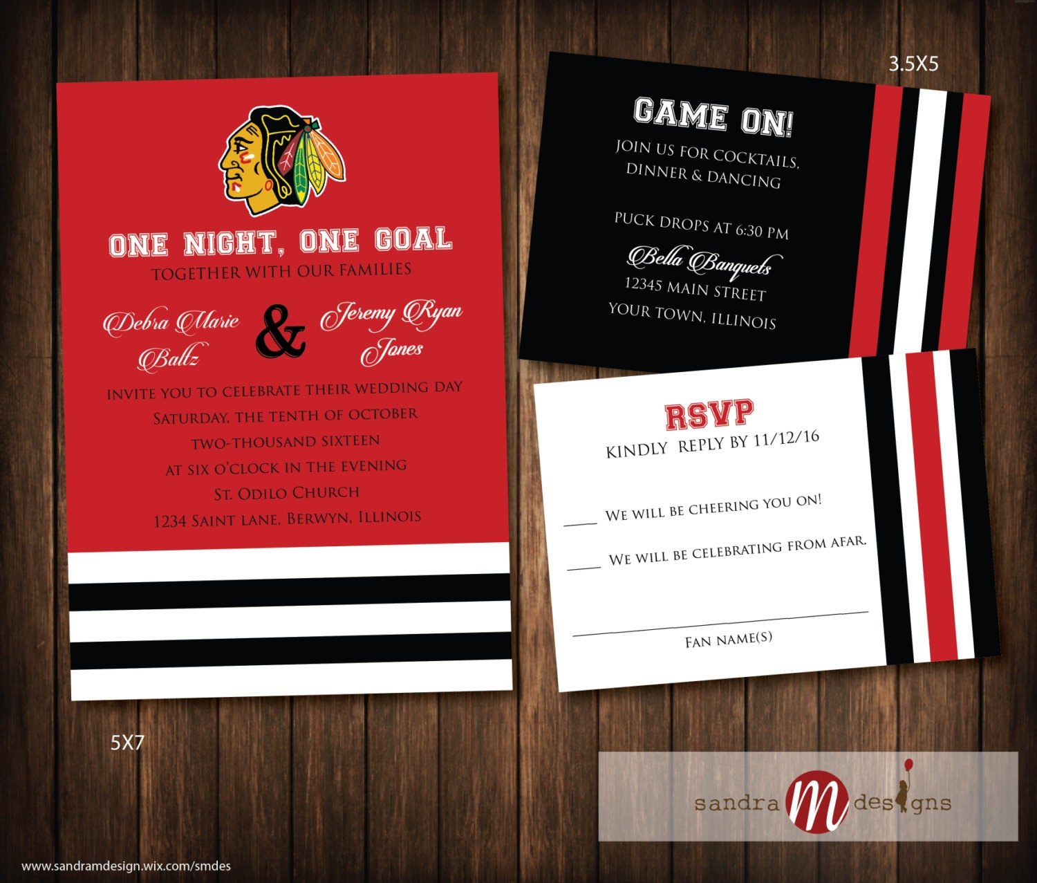 Chicago Blackhawks Hockey Wedding Invitations Hockey | Etsy