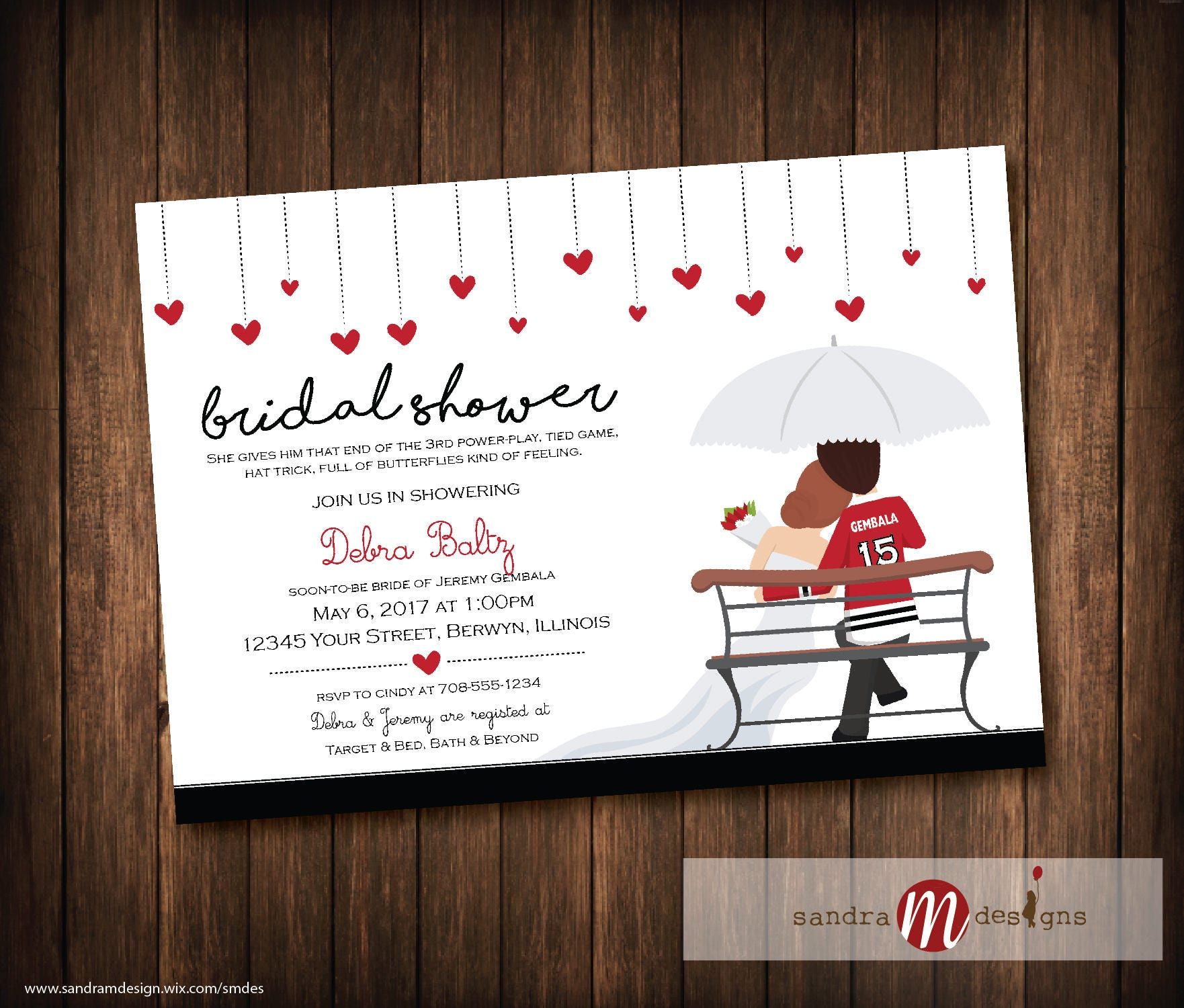 Chicago Blackhawks Wedding Bridal Shower, Wedding Shower Invitations ...