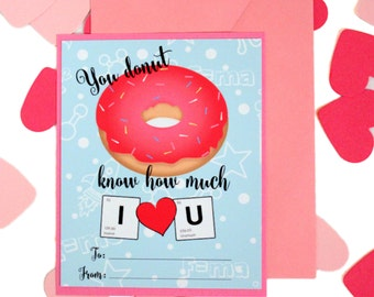 Science Valentine Day Card//Donut//Chemistry Gift//Flat Card//Funny Love Card