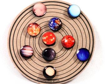 Planet Earrings//Solar System Studs//Post Earrings//Universe Earrings//Pluto//Set of 10 Earrings