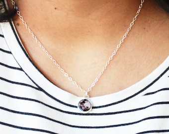 Moon Charm Necklace Pendant Fine Silver with Sterling Silver Chain