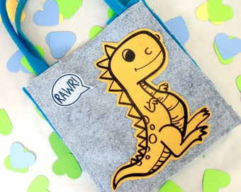 Dinosaur Valentine Bag//Science Gift//Recycled Materials//Yellow