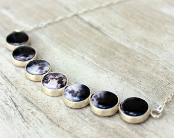 Moon Phases Silver Necklace//Lunar Jewelry//Sterling Silver Chain