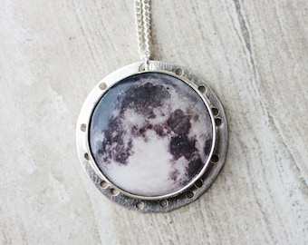 Moon & Stars Necklace//Sterling Silver//Moon Pendant//Science Gift