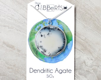 Dendritic Agate Necklace//Arctic Circle//Sterling Silver//Science Gift//Space Rock Collection
