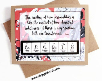 Chemistry Wedding Card Periodic Table Card - Congratulations
