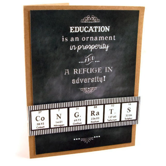 Graduation Science Congrats Periodic Table Chemistry Card - Black and White