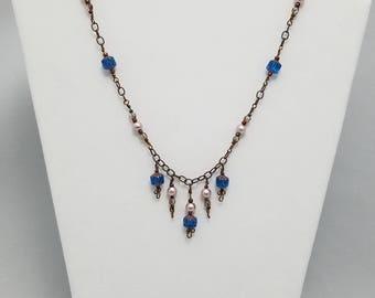 Blue Dew Drop Necklace