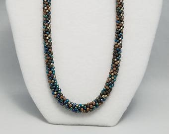 Kumihimo Necklace in shades of ButterRum & Spruce Teal