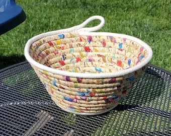 Rope and Fabric Basket in Golden Yellow With Multi Color, with Loop Handle