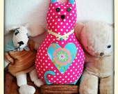 Cerise pink polka dot cat...