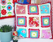 "Crochet edged granny square patchwork ""All Mixed Up"" cushion crochet, patchwork, decorative pillow in blue, pink and red Lecien fabrics"