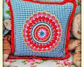 Handmade gingham cushion ...
