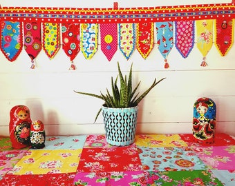 Crochet and fabric fusion boho wall hanging, bunting, banner