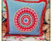 Handmade gingham cushion ...