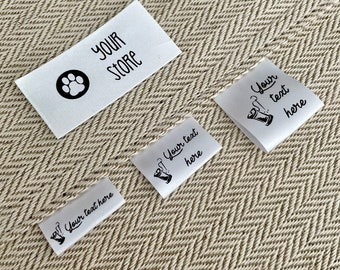 Set of 100 White Satin Fabric Labels 1 inch or 25mm Custom  Black ink PRECUT with your design