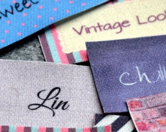 Sew On Cotton Fabric Labels 1 sheet Full Color Printed resistant to Fray No Fade Machine Washable