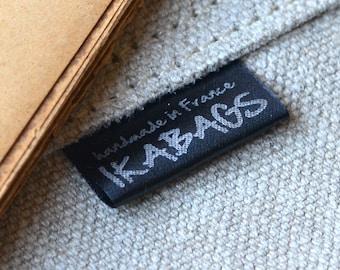 Custom Fabric labels 100  Black SATIN Apparel Labels PRECUT