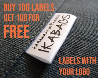 Satin Fabric Labels BOGO SALE 100+100 free Custom  Clothing Labels with your Logo PRECUT