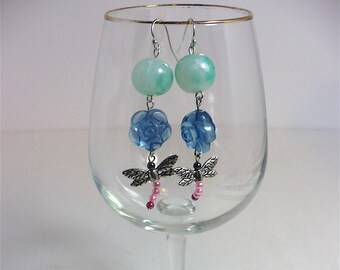 """Dragon Fly Whimsy Dangle Earrings Antique Peking Glass Beads Vintage Acrylic Beads Sterling Silver Ear Wires 2.5"""" Long"""