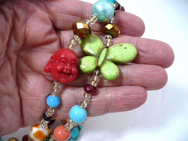 Millennial LUV Love Beads Calming 44 Statement Power Beads Rope Sweater Necklace Not Your Grandma/'s LOVE Beads OOAK