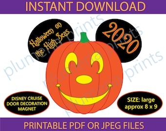 PERSONALIZED Disney Cruise Pumpkin Magnet Halloween Ghost Minnie Mickey Head. Handmade Halloween Disney Cruise Magnet