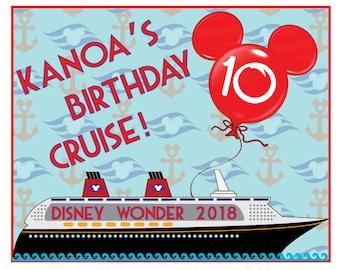 8 x 10 RECTANGLE Nautical Birthday Magnet for Disney Cruise